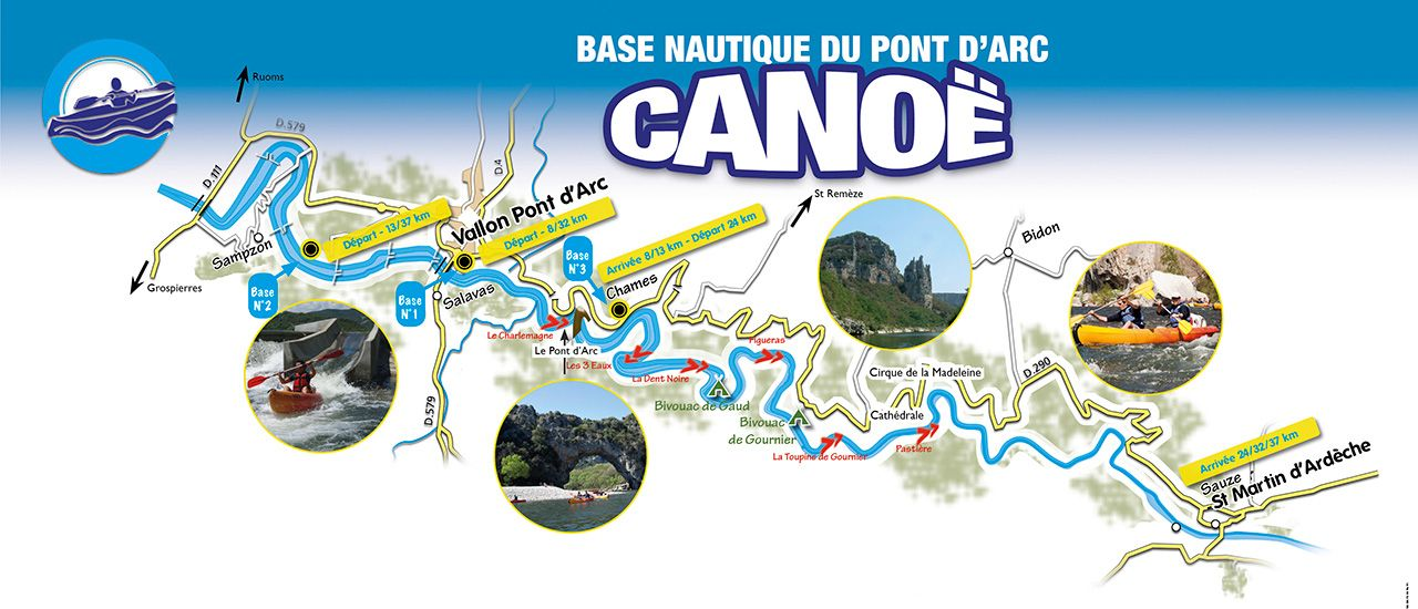 Plan des descentes en canoe
